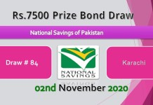 Draw No.84 Rs. 7500 Prize bond List 02 November 2020