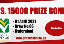 Rs. 15000 Prize bond List 01 April 2021