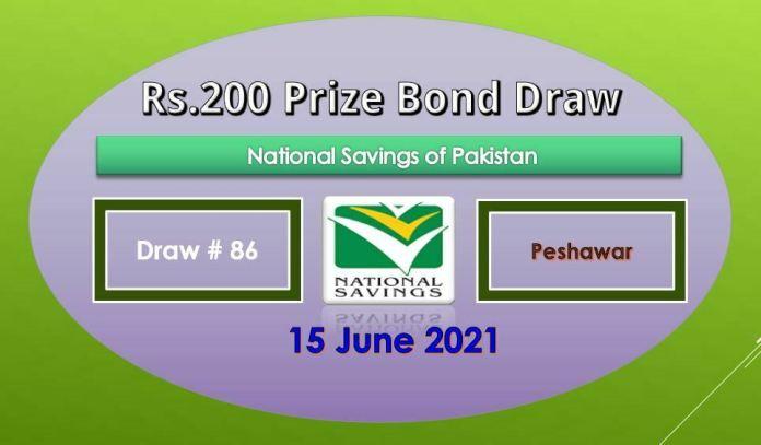 Rs. 200 Prize bond List 15 June 2021 Draw No.86 Peshawar Results online
