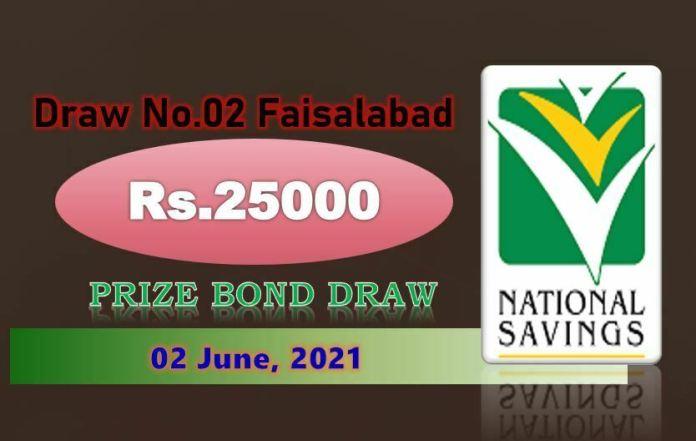 Rs. 25000 Premium Prize bond List 10 June 2021 Draw No.02 Faisalabad Results online
