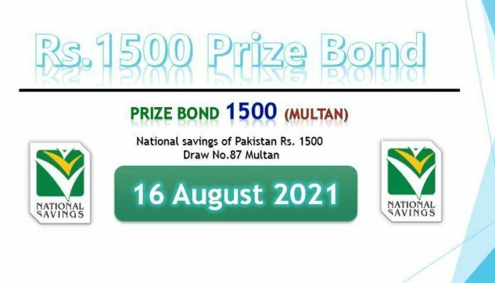 Prize Bond 1500 List 2020 Draw 87 on 16-08-2021