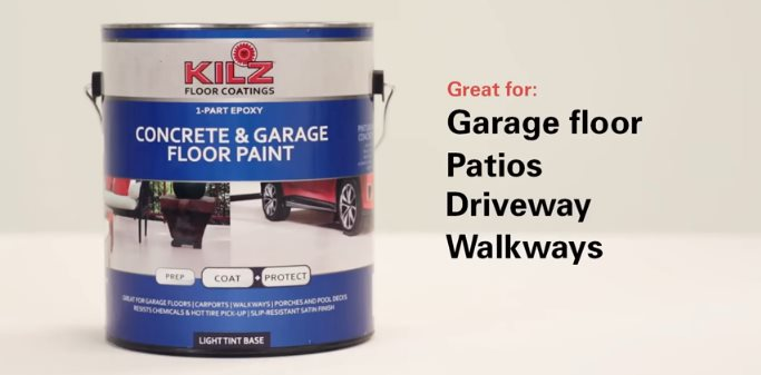 KILZ One-Part Epoxy Acrylic Concrete Paint — Best Concrete Paint for Outdoors