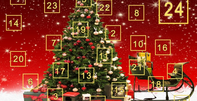 An advent calendar with a Christmas tree image
