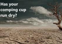 "Arid desert scene with the text ""Has your comping cup run dry"""