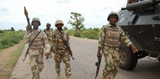 ARCHIVE: Troops-patrolling-Damboa-after-clearing-the-town-of-insurgents