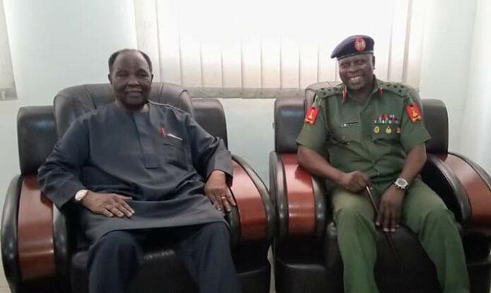 General Yakubu Gowon and DG NYSC Brigadier General Shuaibu Ibrahim