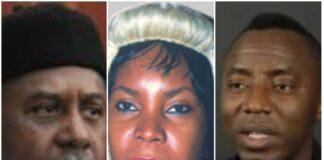 Forme NSA Sambo Dasuki, Justice Ijeoma Ojukwu and Omoyele Sowore of Sahara Reporters