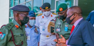 NSA Babagana Monguno with Service Chiefs at Office of National Security Adviser ONSANSA