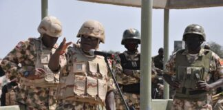 COAS Gen Faruk Yahaya addressing the troops