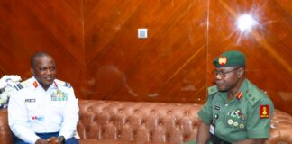 Chief Army Staff, Gen Farouk Yahaya and Chief of Air Staff, Air Marshal Oladayo Amao at first official visit of former