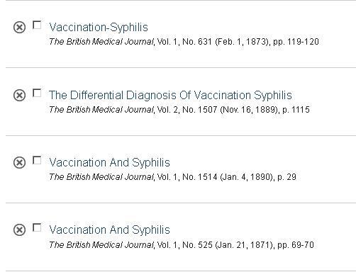 Lista studii sifilis vaccinal 1873 etc