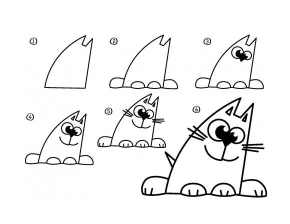 08. Как нарисовать кота – мультяшный вариант