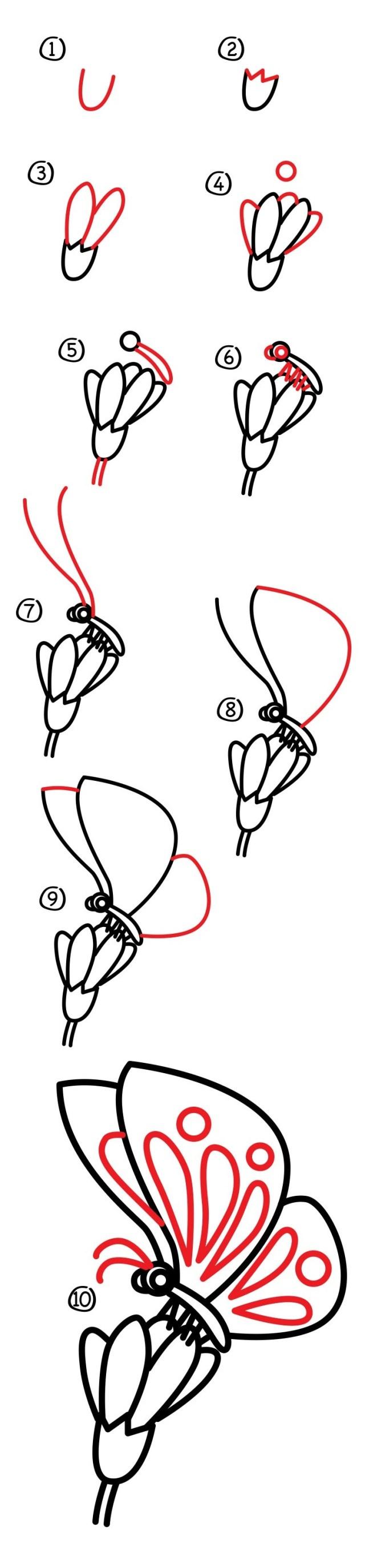 02. Как нарисовать бабочку на цветке?