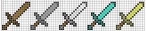Схема для по клеточкам Оружия из майнкрафт