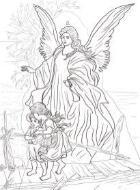 Раскрасски для детей - ангелочки и ангелв распечатать в хорошем качестве8