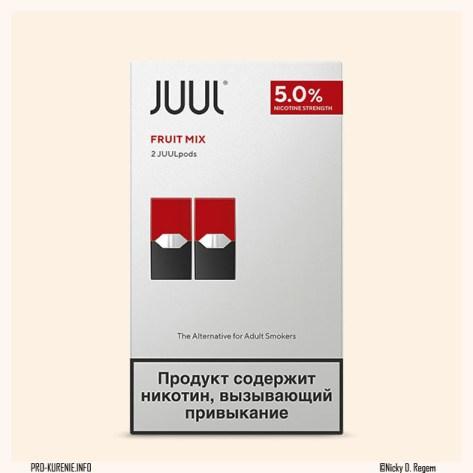 Картриджи на JUUL. На упаковке указана крепость, поставляется 2 картриджа в одной упаковке.