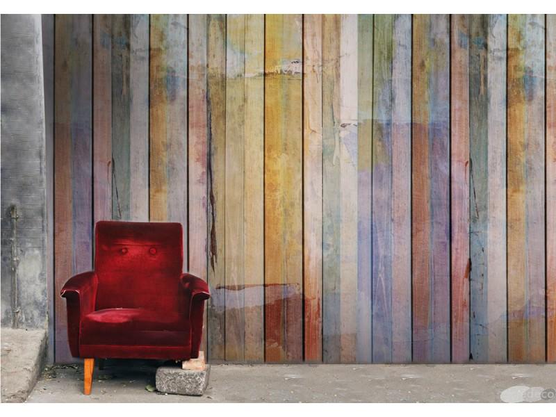 trompe l 39 oeil avec un papier peint textile effet bois. Black Bedroom Furniture Sets. Home Design Ideas