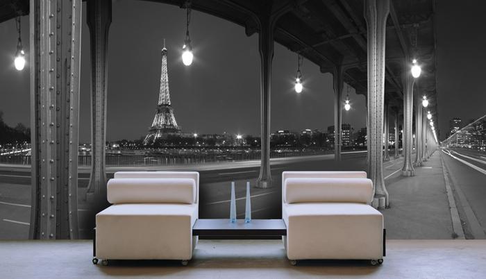 Papier peint panoramique Paris la nuit
