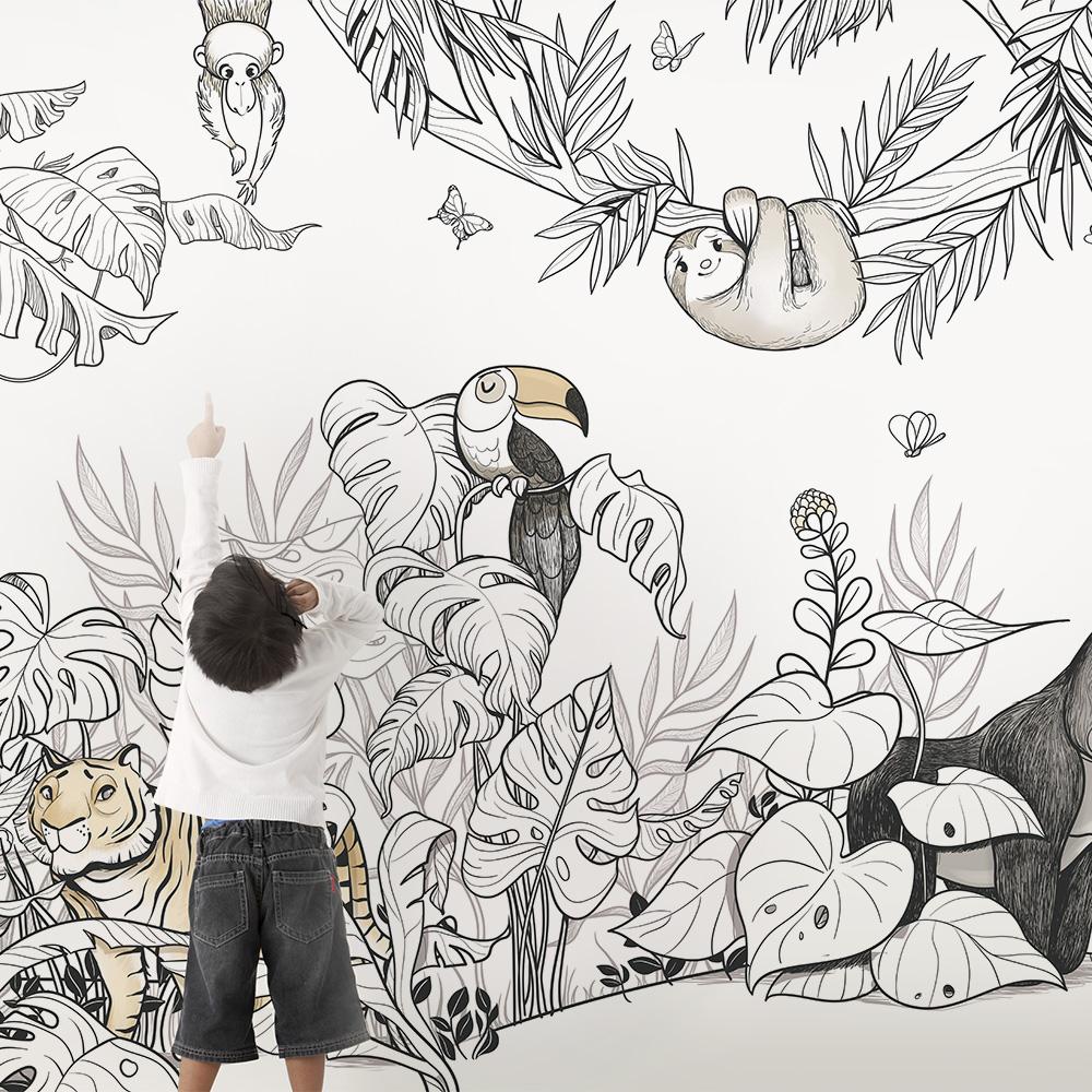Papier peint panoramique Jungle - Design Emmanuelle Colin