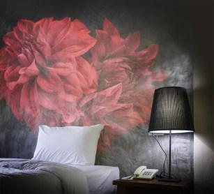 Papier peint panoramique Red Dalhia vintage