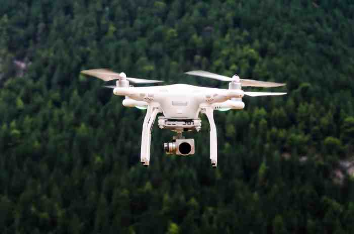 Drone with camera in flight