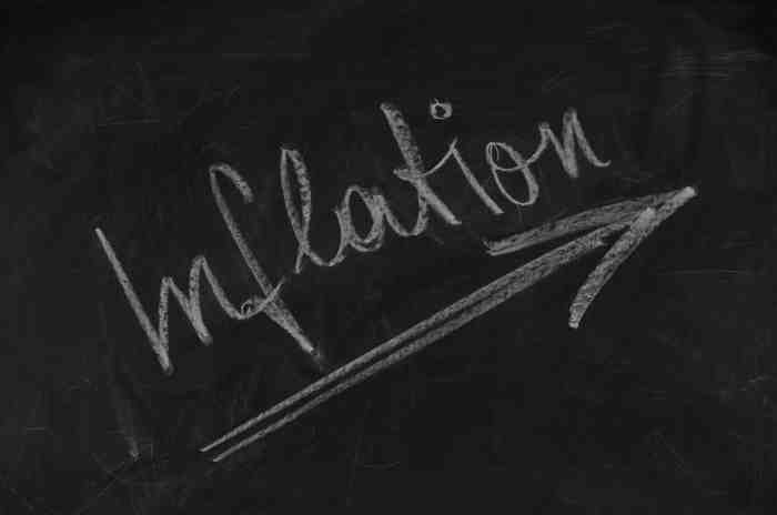 The word inflation on a chalkboard