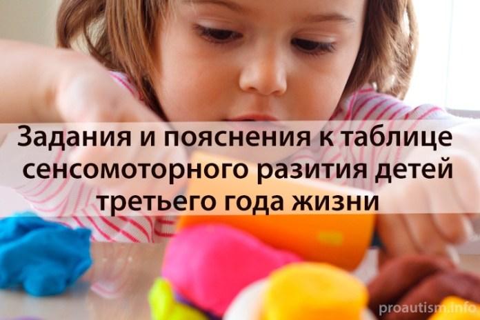 Задания и пояснения к таблице сенсомоторного разития третьего года жизни ребенка
