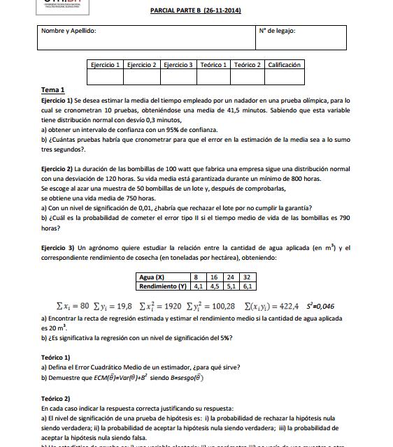 Enunciado Parcial probabilidad y estadistica utn frba 26-11-2014