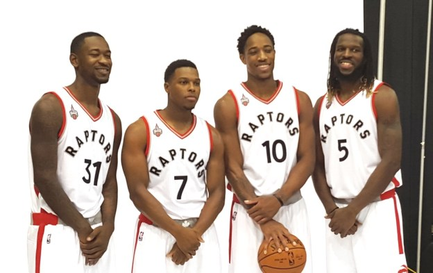 NBA Toronto Raptors Terrence Ross, Kyle Lowry, DeMar DeRozan, DeMarre Carroll