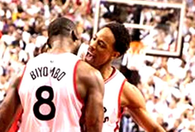 NBA Toronto Raptors Bismack Biyombo and DeMar DeRozan