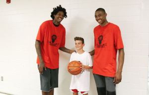 Lucas Nogueira and Bruno Caboclo at kids camp 2016
