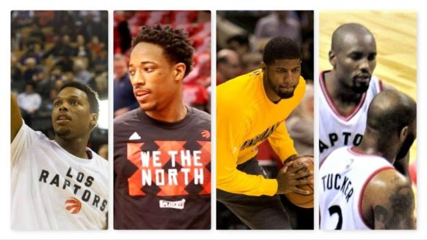 NBA Toronto Raptors Kyle Lowry DeMar DeRozan Pacers Paul George Raptors PJ Tucker and Serge Ibaka