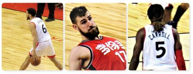 NBA Toronto Raptors Cory Joseph and Jonas Valanciunas and DeMarre Carroll