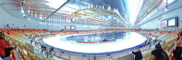 Inside of the Adler Arena, the speed skating stadium