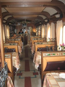 The diner inside the trans mongolian express. A great place to meet friends