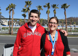 Sochi Winter Olympics with palm trees in the back