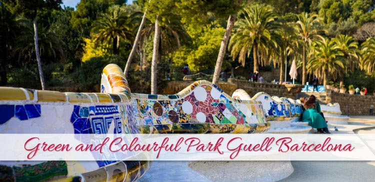 Green and colourful Park Guell Barcelona