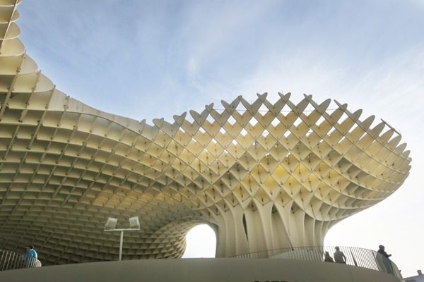The Setas of Seville, Spain are wooden parasol like structures, called mushrooms of Seville. This unique piece of architecture is a must see in Seville.
