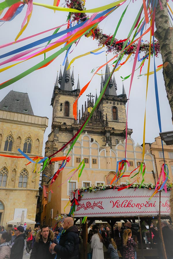 Easter decoration at old town square in Prague for Prague Easter Markets