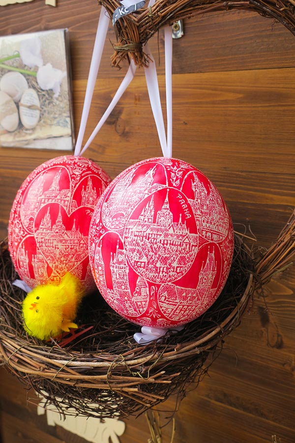 Decorated Easter Eggs for sale at Prague Easter Market