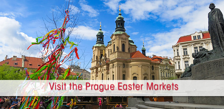 Prague Easter Markets, showing Prague Old Town Square with the Easter Market decorations