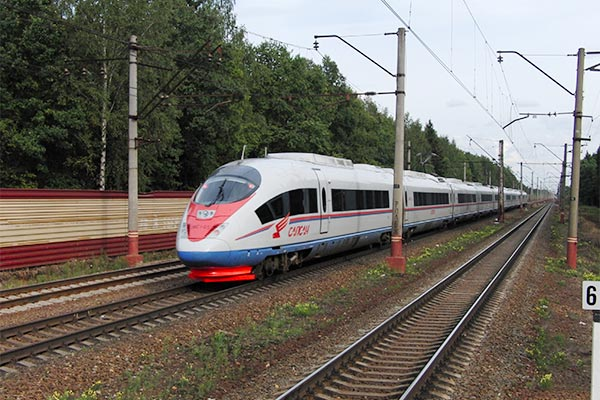 Sapsan High Speed train from St. Petersburg to Moscow.
