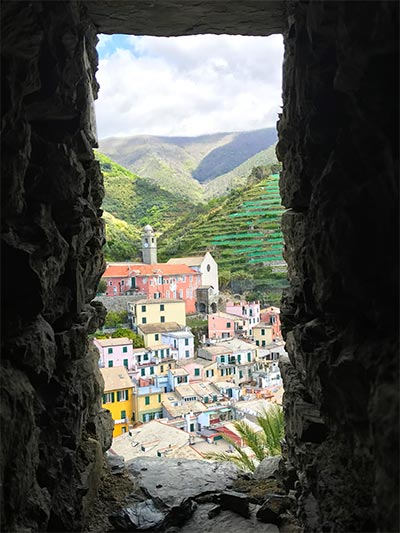 View on a colorful village in Cinque Terre Italy which is the best place to stay in Italy.
