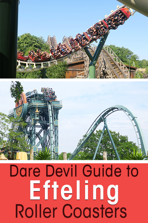 Images of the Efteling Roller Coasters. Two images, one of the corkscrew at the Python roller coaster and the other image is the drop of the dive coaster Baron 1898. Text overlay saying: Dare devil guide to Efteling Roller Coasters, theme park in the Netherlands
