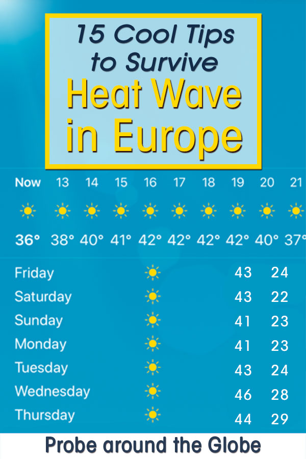 Printscreen of weather app showing blue sky and bright sun shining with extreme high temperatures of plus 40 degrees celsius. Text overlay saying: 15 cool tips to survive Heat Wave in Europe. Probe around the Globe