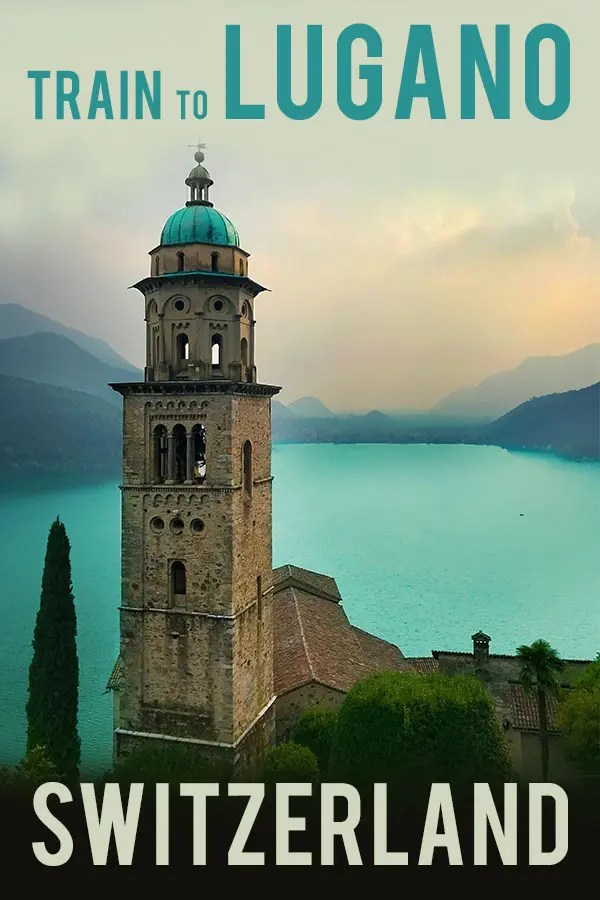 Moody image of the church tower of Morcote in Switzerland seen from the top of the San Salvatore mountain with views of the Lugano lake. Text overlay saying Train to Lugano Switzerland. Probe around the Globe.