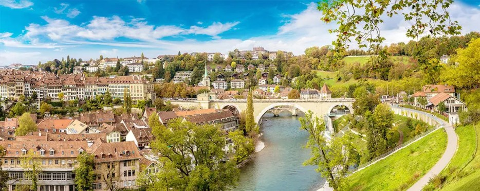 Panoramic view of the city of Bern, the capital of Switzerland with the River Aare flowing through it.