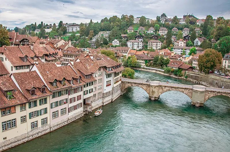 Bridge spanning the river Aare in Bern, one of the best cities in Switzerland to visit.