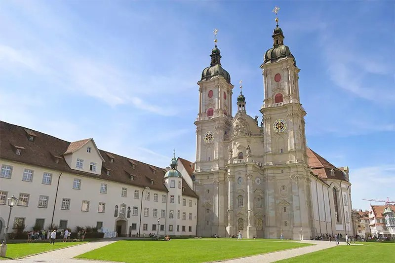The façade and the lovely grass of the Cathedral of St. Gallen during our visit.