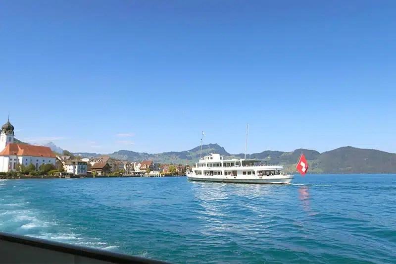 Summer boat trip on Lake Lucerne Switzerland.